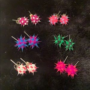 🌈 Spikey jelly earrings 6 pairs